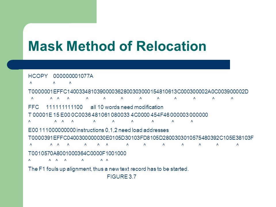 Mask Method of Relocation HCOPY 000000001077A ^ ^ ^ T0000001EFFC1400334810390000362800303000154810613C000300002A0C003900002D ^ ^ ^ ^ ^ ^ ^ ^ ^ ^ ^ ^ ^ FFC 111111111100 all 10 words need modification T 00001E 15 E00 0C0036 481061 080033 4C0000 454F46 000003 000000 ^ ^ ^ ^ ^ E00 111000000000 instructions 0,1,2 need load addresses T0000391EFFC0400300000030E0105D30103FD8105D2800303010575480392C105E38103F ^ ^ ^ ^ ^ ^ ^ ^ ^ ^ ^ ^ ^ ^ T0010570A8001000364C0000F1001000 ^ ^ ^ ^ ^ ^ ^ The F1 fouls up alignment, thus a new text record has to be started.