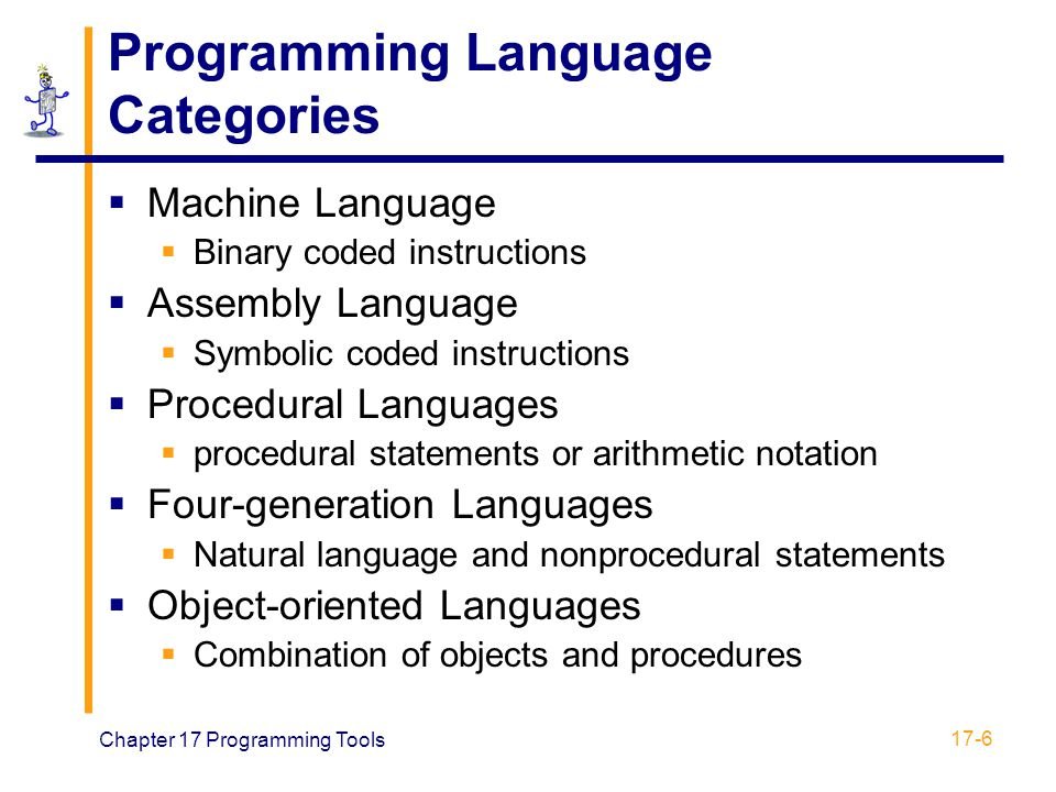 Chapter 17 Programming Tools 17-6 Programming Language Categories  Machine Language  Binary coded instructions  Assembly Language  Symbolic coded