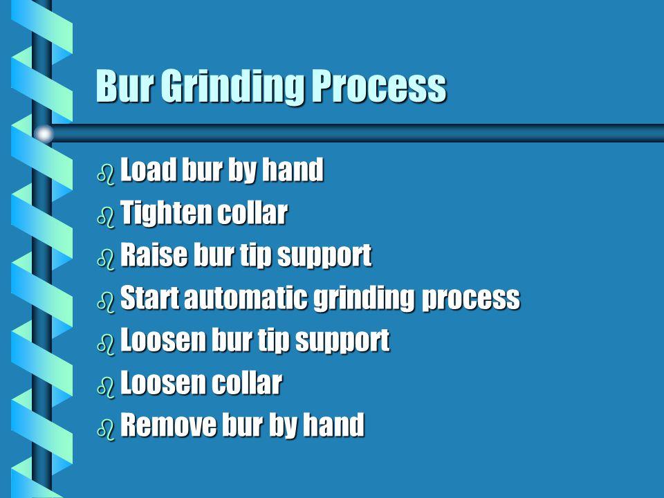 Bur Grinding Process b Load bur by hand b Tighten collar b Raise bur tip support b Start automatic grinding process b Loosen bur tip support b Loosen collar b Remove bur by hand