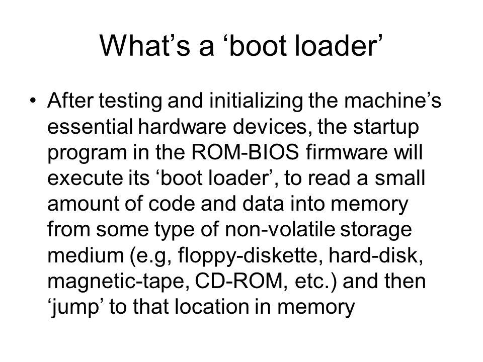 'Real-Mode' Memory Map BOOT_LOCN 0x00007C00 0x00007E00 512 bytes ROM-BIOS VRAM IVT RAM Vendor's Firmware Video Display Memory No installed memory Volatile Program Memory 1-MB RBDA 0x00000000 0x00000400 0x00000500 1024 bytes 256 bytes Extended BIOS Data Top of RAM (= 0x000A0000) Video-ROM 128 kbytes 64+ kbytes