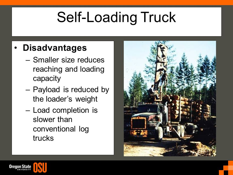 Self-Loading Truck Disadvantages –Smaller size reduces reaching and loading capacity –Payload is reduced by the loader's weight –Load completion is slower than conventional log trucks
