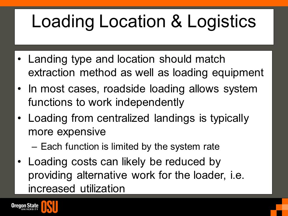 Loading Location & Logistics Landing type and location should match extraction method as well as loading equipment In most cases, roadside loading allows system functions to work independently Loading from centralized landings is typically more expensive –Each function is limited by the system rate Loading costs can likely be reduced by providing alternative work for the loader, i.e.