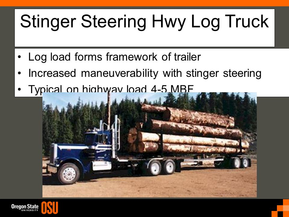 Stinger Steering Hwy Log Truck Log load forms framework of trailer Increased maneuverability with stinger steering Typical on highway load 4-5 MBF