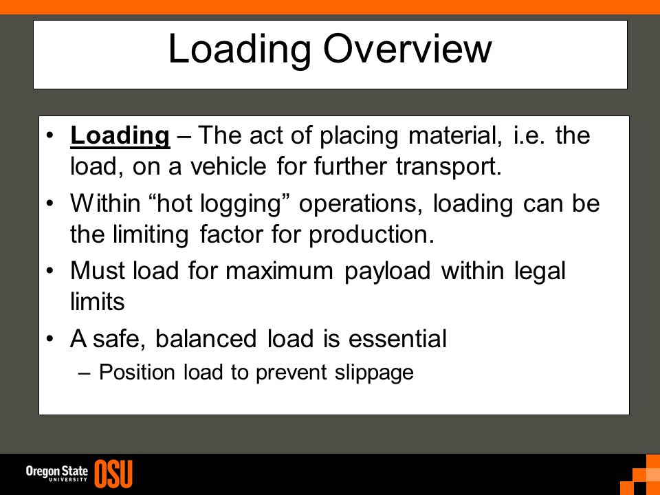 Loading Overview Loading – The act of placing material, i.e.