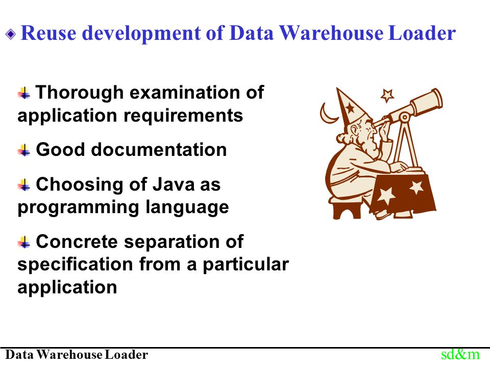 Data Warehouse Loader sd&m Reuse development of Data Warehouse Loader Thorough examination of application requirements Good documentation Choosing of