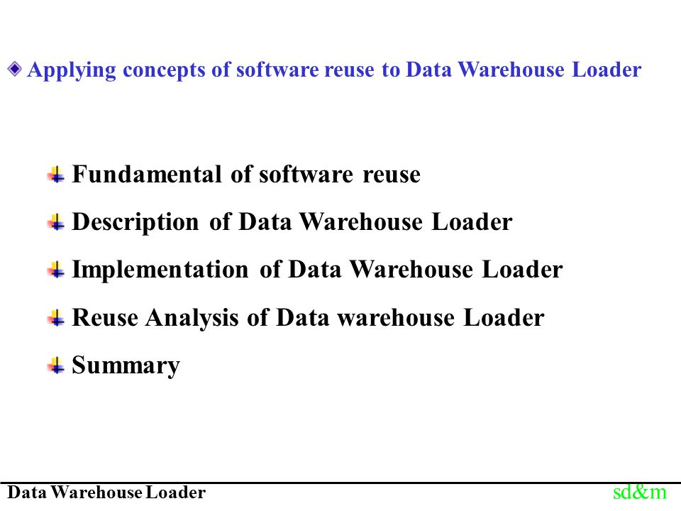 Data Warehouse Loader sd&m Applying concepts of software reuse to Data Warehouse Loader Fundamental of software reuse Description of Data Warehouse Loader Implementation of Data Warehouse Loader Reuse Analysis of Data warehouse Loader Summary