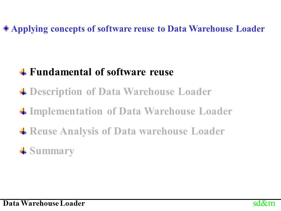 Data Warehouse Loader sd&m Applying concepts of software reuse to Data Warehouse Loader Fundamental of software reuse Description of Data Warehouse Lo