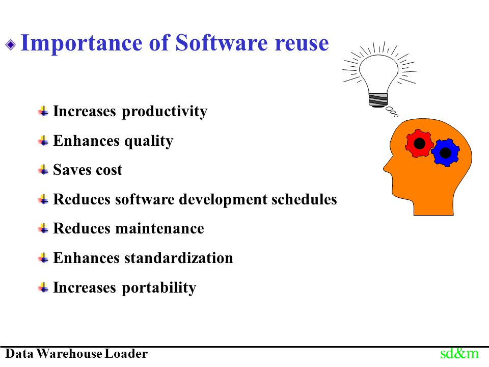 Data Warehouse Loader sd&m Importance of Software reuse Increases productivity Enhances quality Saves cost Reduces software development schedules Redu