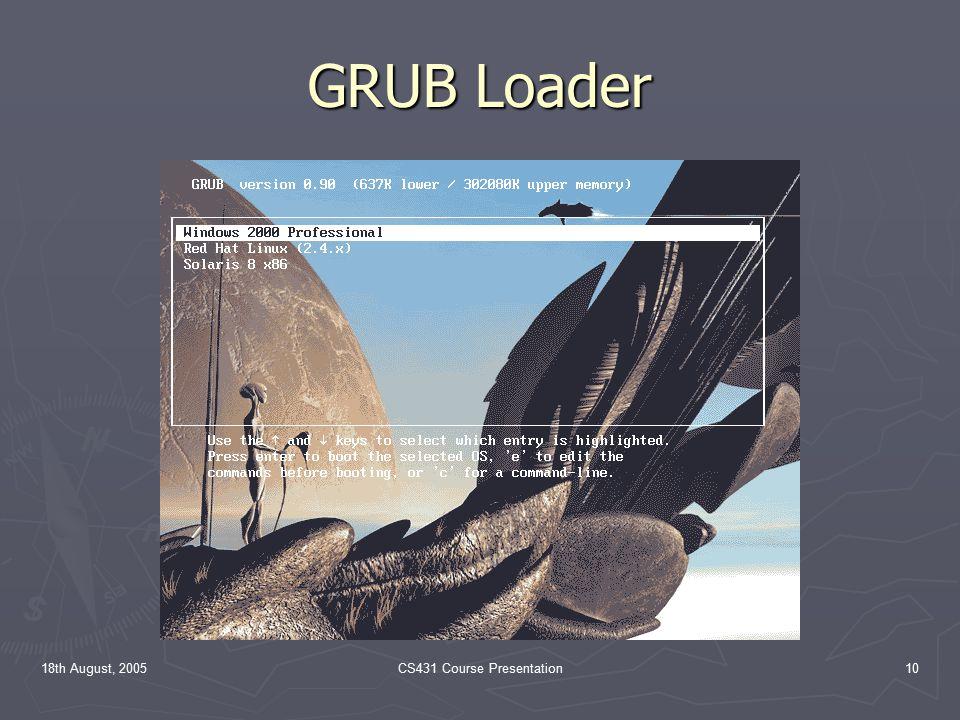 18th August, 2005CS431 Course Presentation10 GRUB Loader