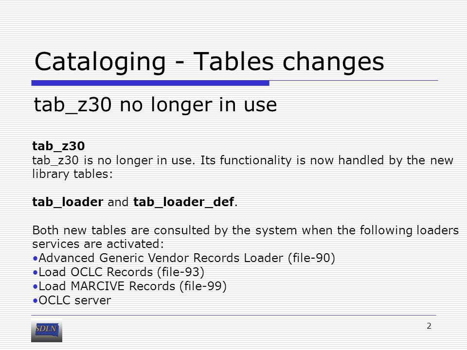 Cataloging - Tables changes tab_z30 no longer in use 2 tab_z30 tab_z30 is no longer in use.
