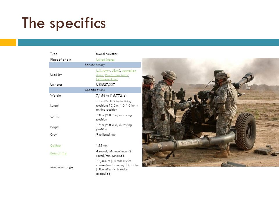 The specifics Typetowed howitzer Place of originUnited States Service history Used by U.S.