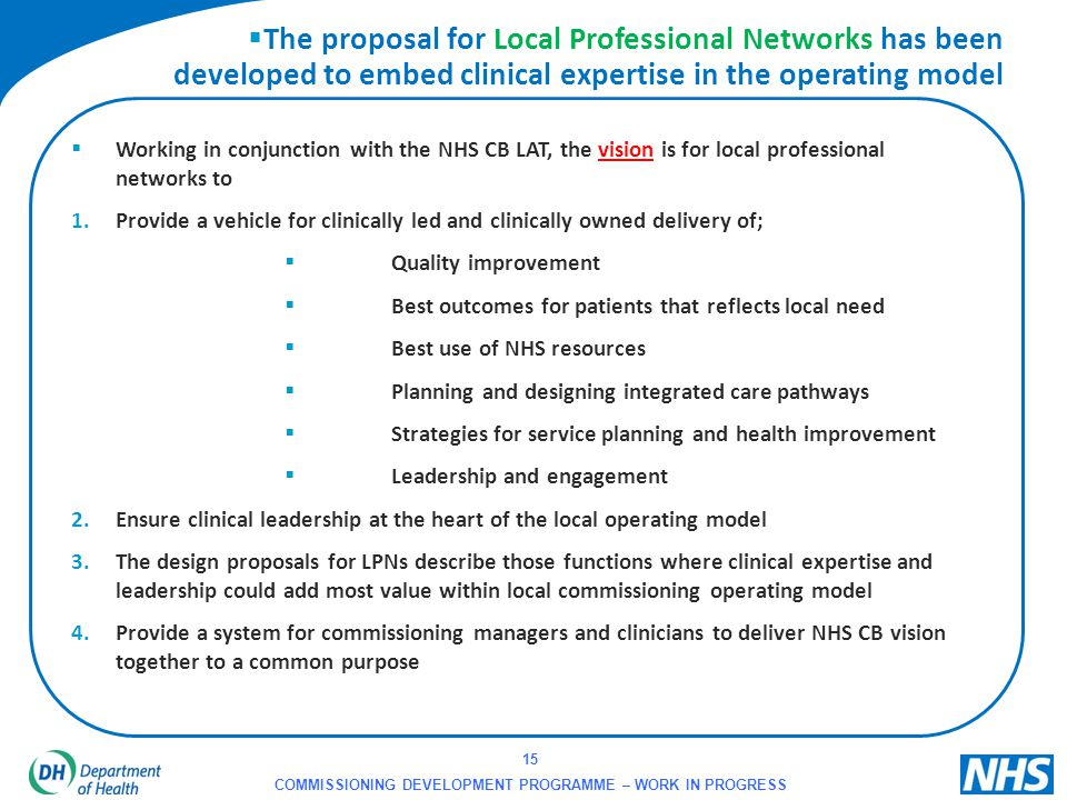 15 COMMISSIONING DEVELOPMENT PROGRAMME – WORK IN PROGRESS  The proposal for Local Professional Networks has been developed to embed clinical expertis