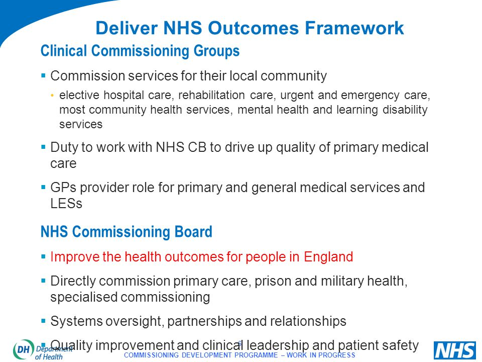 6 COMMISSIONING DEVELOPMENT PROGRAMME – WORK IN PROGRESS Clinical Commissioning Groups  Commission services for their local community elective hospit