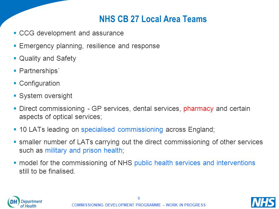 20 COMMISSIONING DEVELOPMENT PROGRAMME – WORK IN PROGRESS Statement from CPhO By now I assume you would have all seen the structure of the Operations Directorate of the NHS CB.
