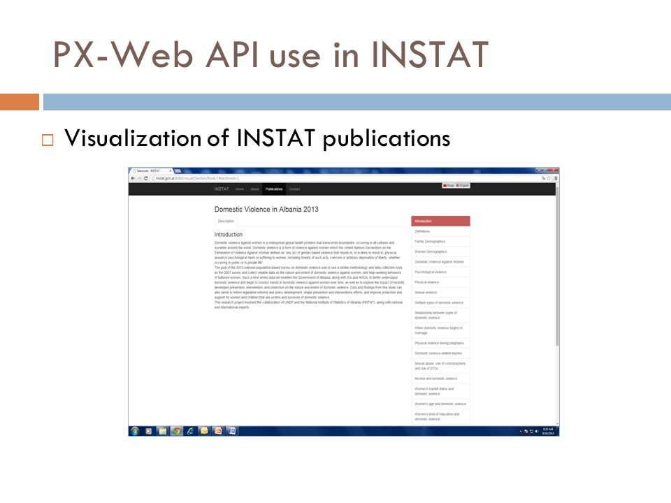 PX-Web API use in INSTAT  Visualization of INSTAT publications