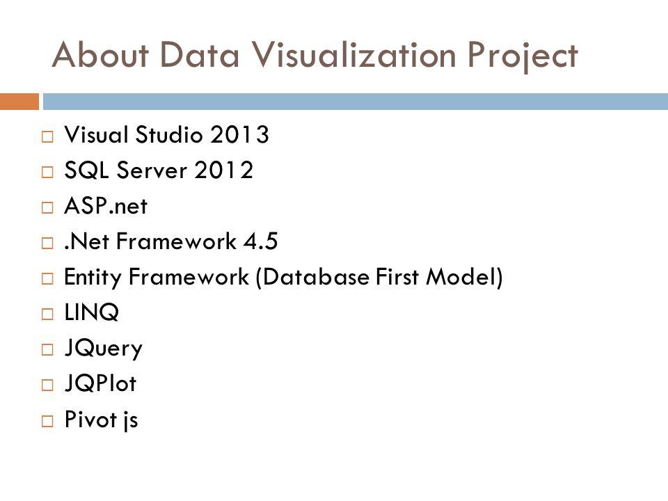 About Data Visualization Project  Visual Studio 2013  SQL Server 2012  ASP.net .Net Framework 4.5  Entity Framework (Database First Model)  LINQ  JQuery  JQPlot  Pivot js