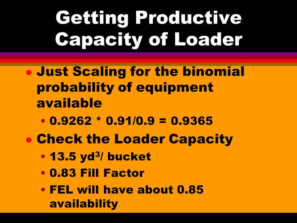 Getting Operating Cost l Catapillar Has a Detailed Table - Terex has a simple formula l Diesel Fuel Cost 0.026 gal/hp-hr 690 hp * 0.026 * $1/gal = $17.94/hr l Lubricants about 1/5th of Fuel $17.94/5 = $3.60/hr