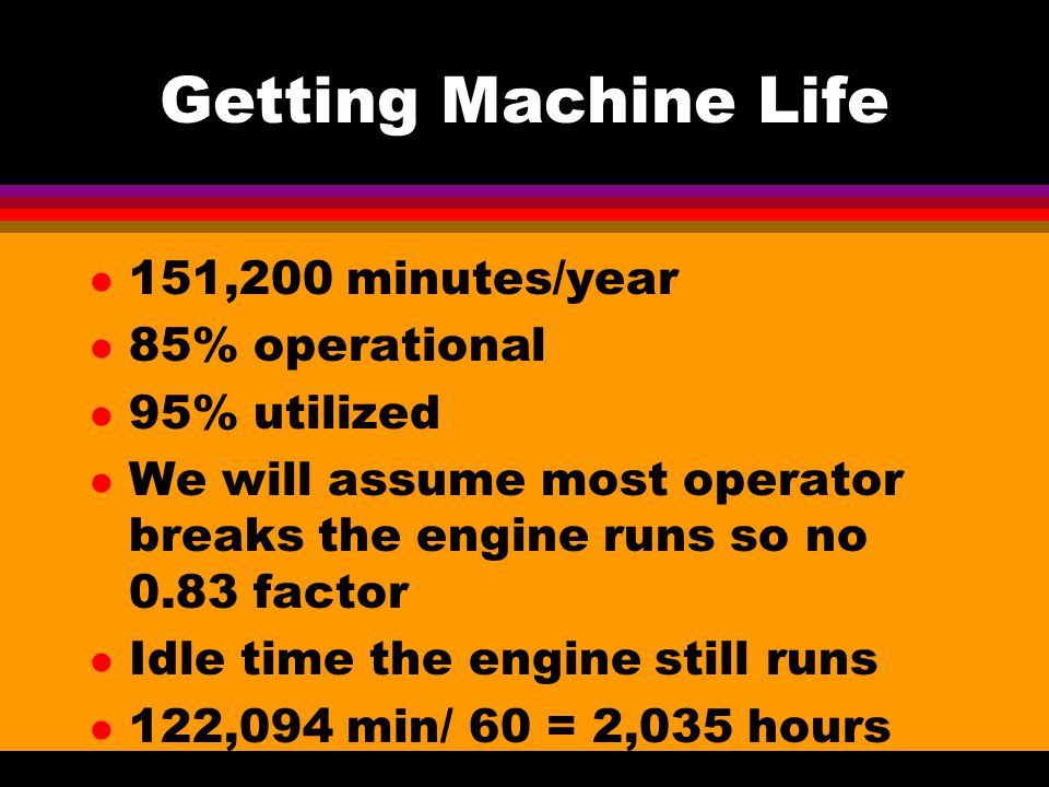 Getting Machine Life l 151,200 minutes/year l 85% operational l 95% utilized l We will assume most operator breaks the engine runs so no 0.83 factor l Idle time the engine still runs l 122,094 min/ 60 = 2,035 hours