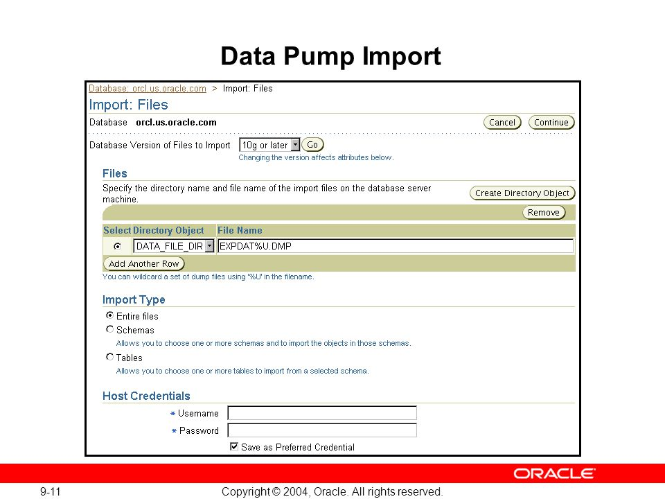 9-11 Copyright © 2004, Oracle. All rights reserved. Data Pump Import