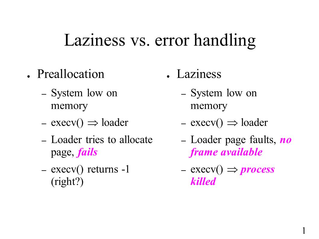 1 Laziness vs.