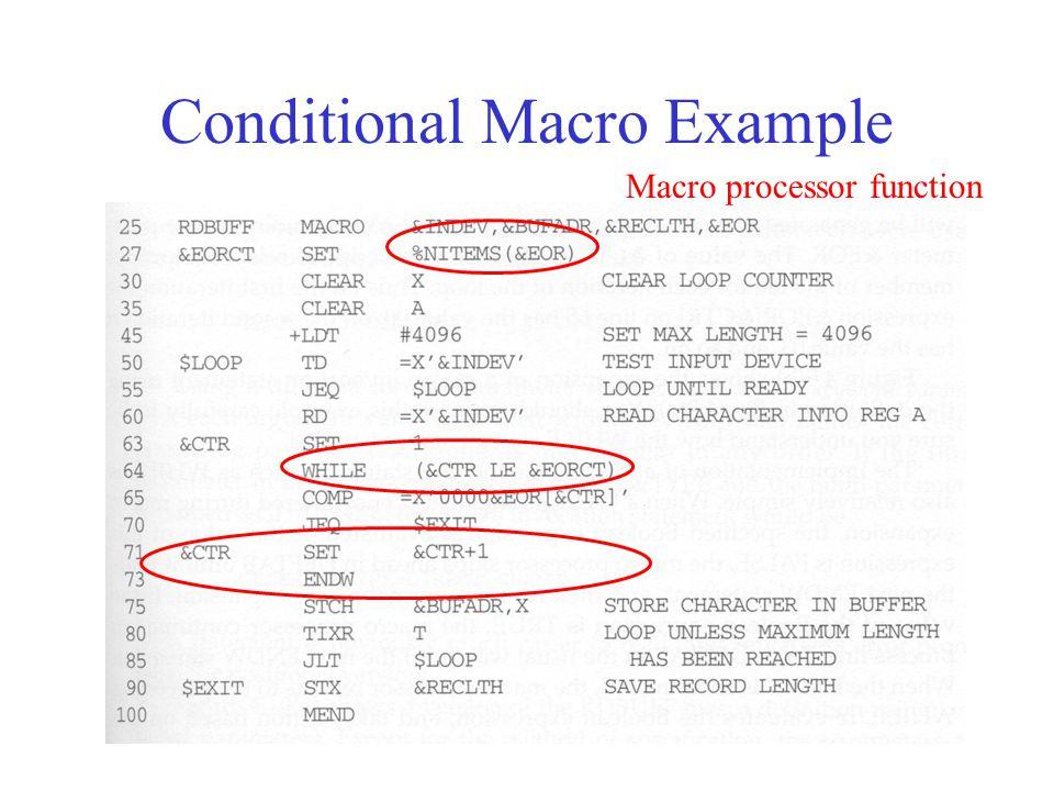 Conditional Macro Example Macro processor function