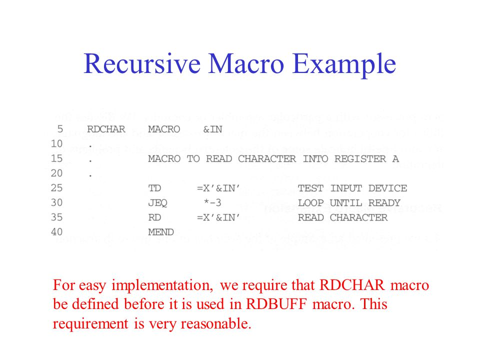 For easy implementation, we require that RDCHAR macro be defined before it is used in RDBUFF macro.