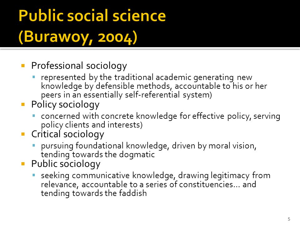  Professional sociology  represented by the traditional academic generating new knowledge by defensible methods, accountable to his or her peers in an essentially self-referential system)  Policy sociology  concerned with concrete knowledge for effective policy, serving policy clients and interests)  Critical sociology  pursuing foundational knowledge, driven by moral vision, tending towards the dogmatic  Public sociology  seeking communicative knowledge, drawing legitimacy from relevance, accountable to a series of constituencies… and tending towards the faddish 5