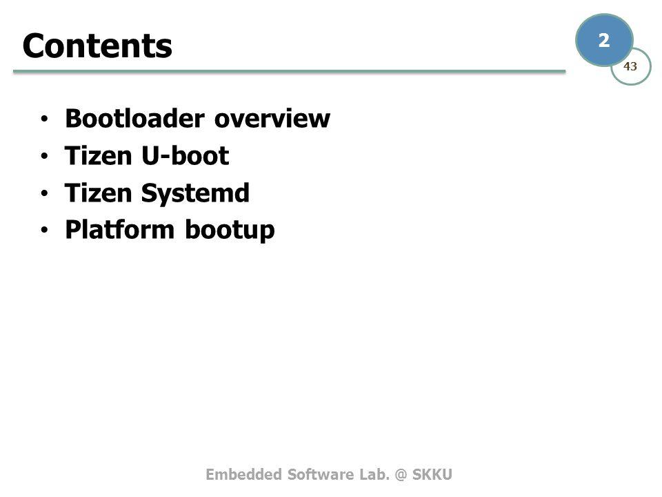 Embedded Software Lab. @ SKKU 43 2 Bootloader overview Tizen U-boot Tizen Systemd Platform bootup Contents