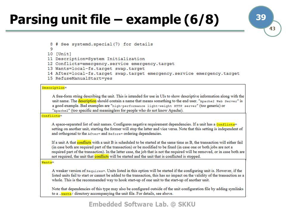 Embedded Software Lab. @ SKKU 43 39 Parsing unit file – example (6/8)