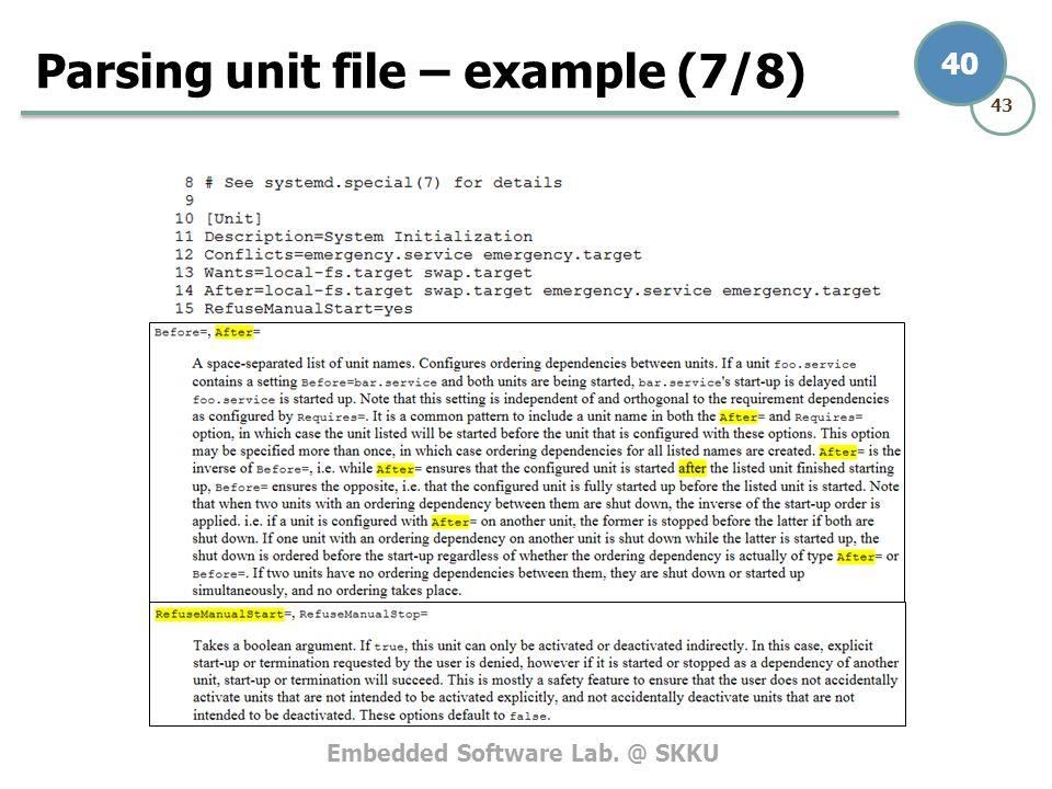 Embedded Software Lab. @ SKKU 43 40 Parsing unit file – example (7/8)
