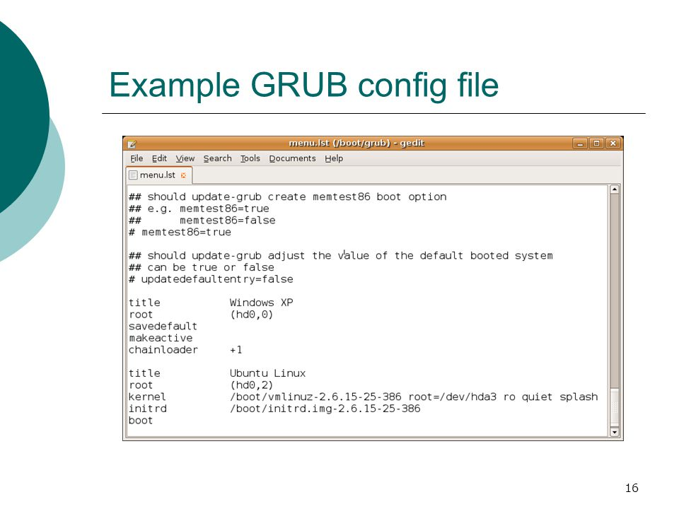 16 Example GRUB config file