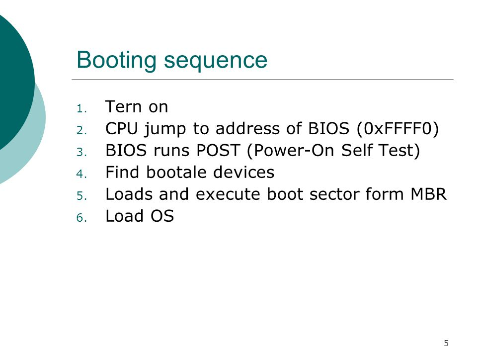 5 Booting sequence 1. Tern on 2. CPU jump to address of BIOS (0xFFFF0) 3.