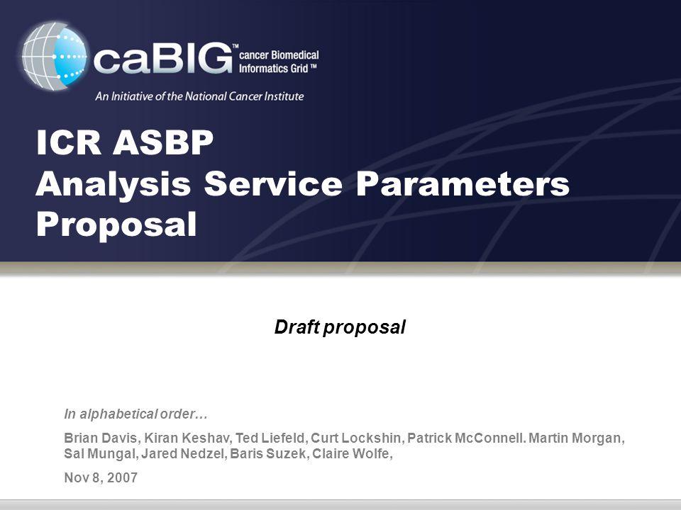 ICR ASBP Analysis Service Parameters Proposal Draft proposal In alphabetical order… Brian Davis, Kiran Keshav, Ted Liefeld, Curt Lockshin, Patrick McConnell.