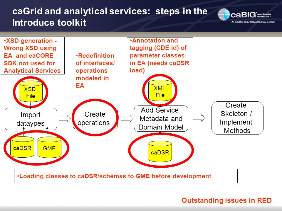 caGrid and analytical services: steps in the Introduce toolkit Import dataypes Create operations Add Service Metadata and Domain Model Create Skeleton