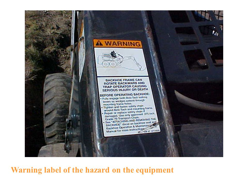 Warning label of the hazard on the equipment