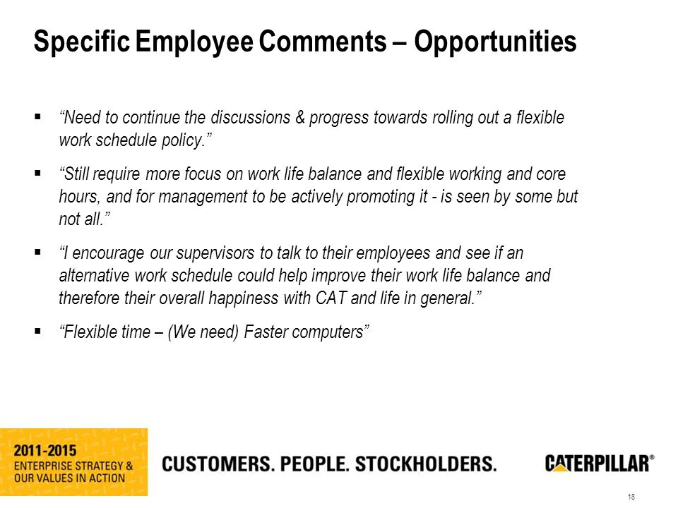18 Specific Employee Comments – Opportunities  Need to continue the discussions & progress towards rolling out a flexible work schedule policy.  Still require more focus on work life balance and flexible working and core hours, and for management to be actively promoting it - is seen by some but not all.  I encourage our supervisors to talk to their employees and see if an alternative work schedule could help improve their work life balance and therefore their overall happiness with CAT and life in general.  Flexible time – (We need) Faster computers