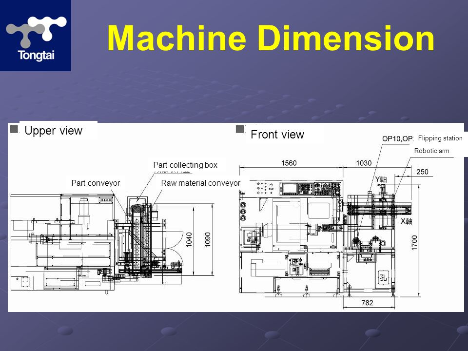 Machine Dimension Upper view Front view Part conveyor Part collecting box Raw material conveyor Flipping station Robotic arm