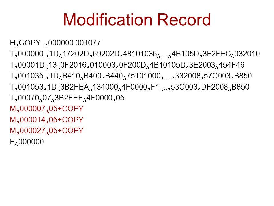 Modification Record H  COPY  000000 001077 T  000000  1D  17202D  69202D  48101036  …  4B105D  3F2FEC  032010 T  00001D  13  0F2016  01