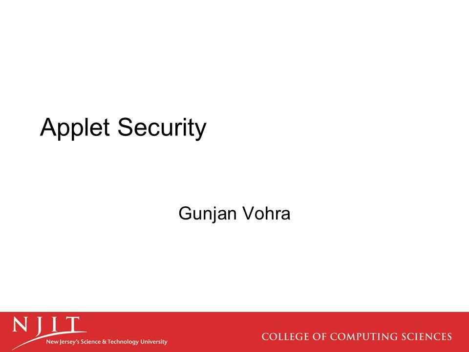 Applet Security Gunjan Vohra