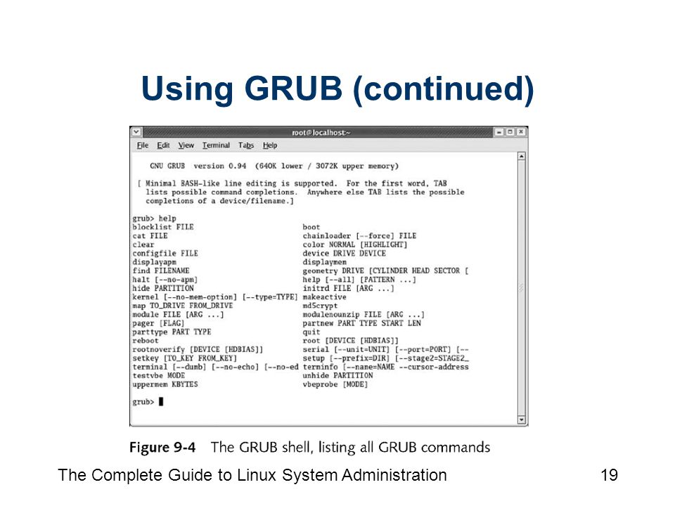 The Complete Guide to Linux System Administration19 Using GRUB (continued)