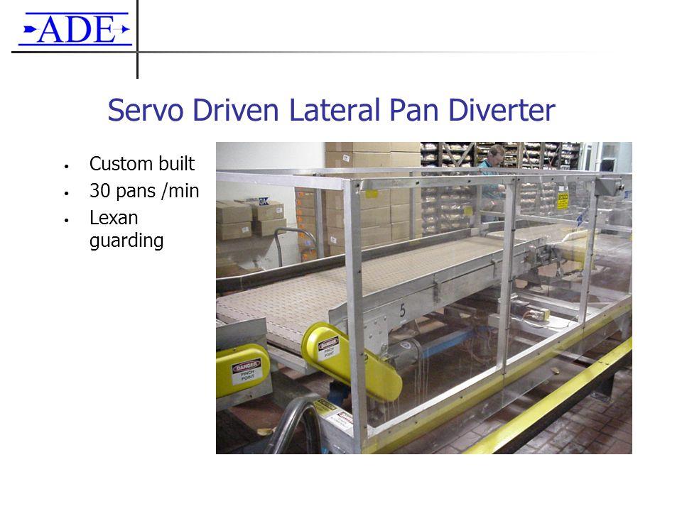 Servo Driven Lateral Pan Diverter Custom built 30 pans /min Lexan guarding