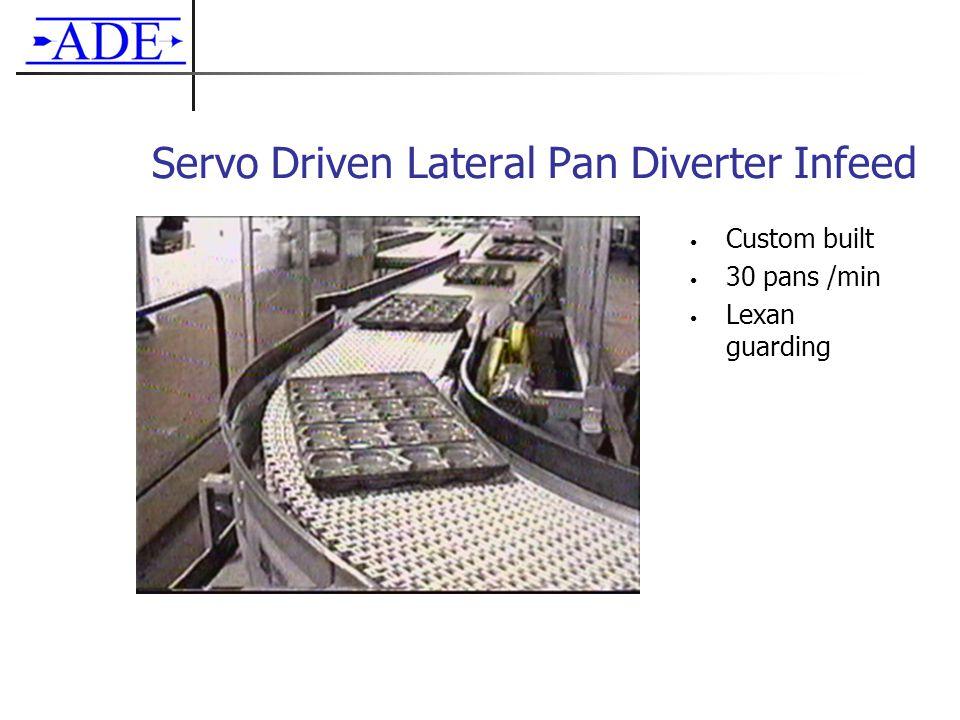 Servo Driven Lateral Pan Diverter Infeed Custom built 30 pans /min Lexan guarding