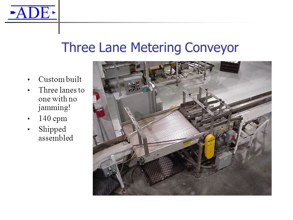 Three Lane Metering Conveyor Custom built Three lanes to one with no jamming! 140 cpm Shipped assembled