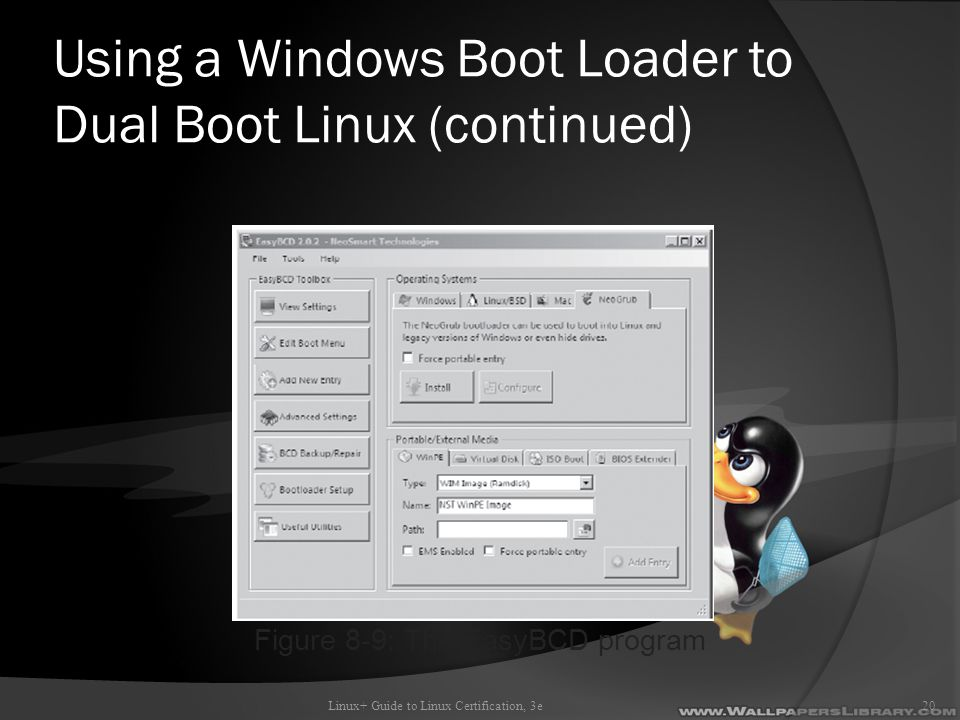 Using a Windows Boot Loader to Dual Boot Linux (continued) Linux+ Guide to Linux Certification, 3e20 Figure 8-9: The EasyBCD program