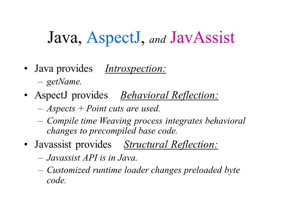 Java, AspectJ, and JavAssist Java provides Introspection: –getName.