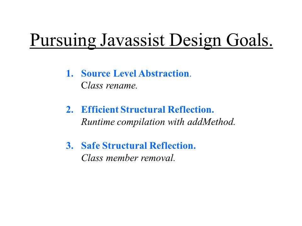 Pursuing Javassist Design Goals. 1.Source Level Abstraction.