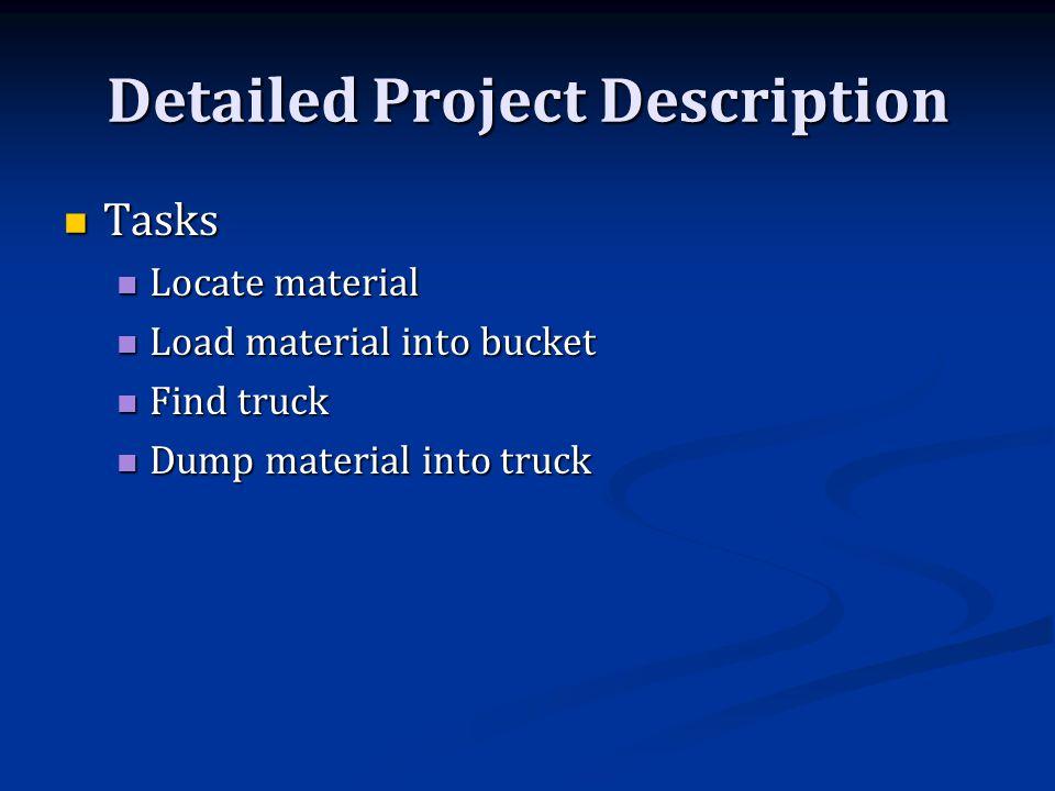 Tasks Tasks Locate material Locate material Load material into bucket Load material into bucket Find truck Find truck Dump material into truck Dump material into truck