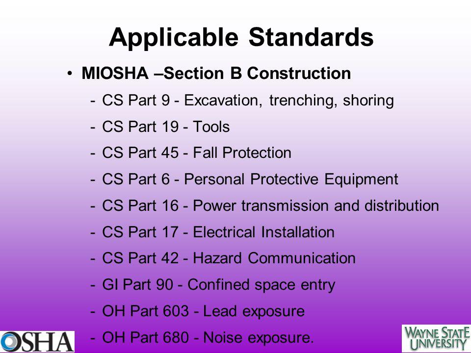 MIOSHA –Section B Construction -CS Part 9 - Excavation, trenching, shoring -CS Part 19 - Tools -CS Part 45 - Fall Protection -CS Part 6 - Personal Pro