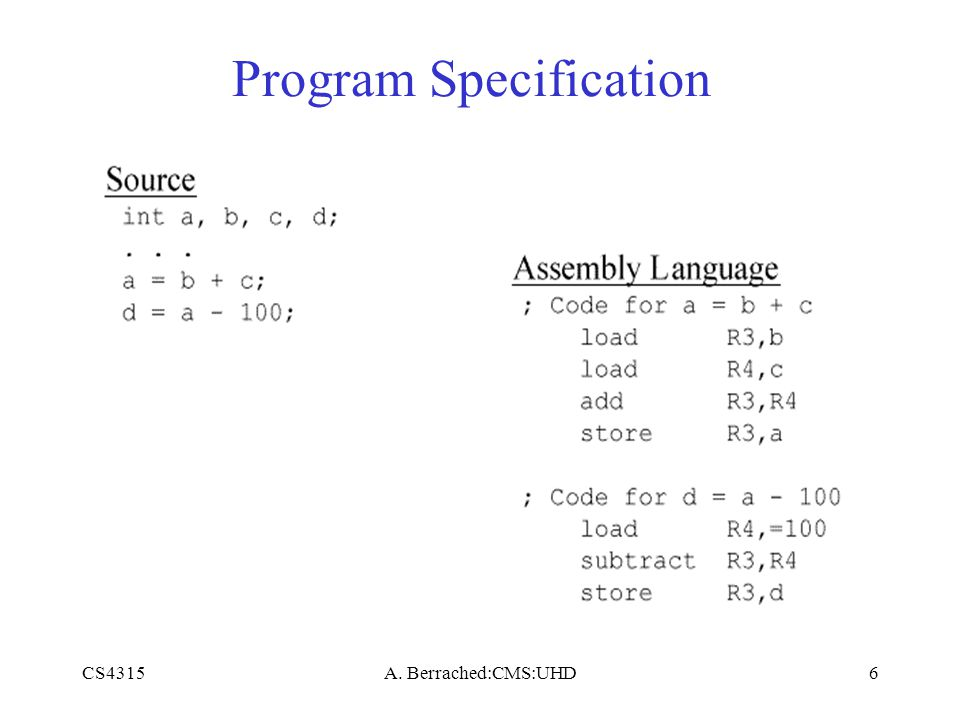 CS4315A. Berrached:CMS:UHD6 Program Specification