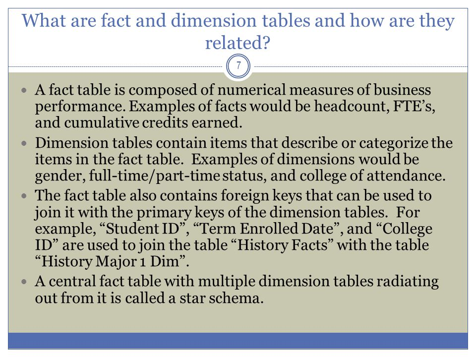 What are fact and dimension tables and how are they related? 7 A fact table is composed of numerical measures of business performance. Examples of fac